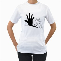 Rabbit Hand Shadow White Womens  T Shirt by rabbithandshadow