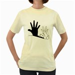Rabbit Hand Shadow Yellow Womens  T-shirt