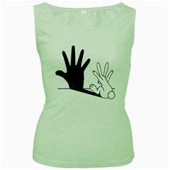 Rabbit Hand Shadow Green Womens  T Shirt by rabbithandshadow