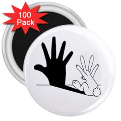 Rabbit Hand Shadow 100 Pack Large Magnet (round) by rabbithandshadow
