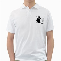 Rabbit Hand Shadow White Mens  Polo Shirt by rabbithandshadow