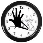 Rabbit Hand Shadow Black Wall Clock