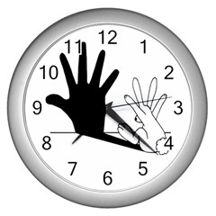 Rabbit Hand Shadow Silver Wall Clock by rabbithandshadow