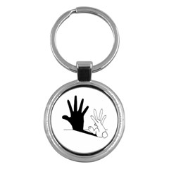 Rabbit Hand Shadow Key Chain (round) by rabbithandshadow