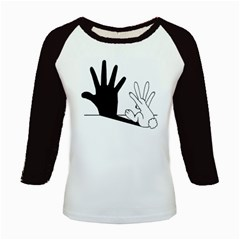 Rabbit Hand Shadow Long Sleeve Raglan Womens'' T Shirt by rabbithandshadow