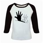 Rabbit Hand Shadow Long Sleeve Raglan Womens'' T-shirt