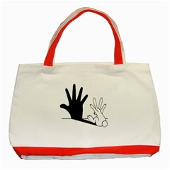 Rabbit Hand Shadow Red Tote Bag by rabbithandshadow