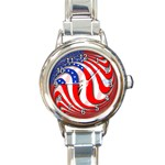 USA Round Italian Charm Watch
