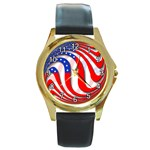 USA Round Gold Metal Watch
