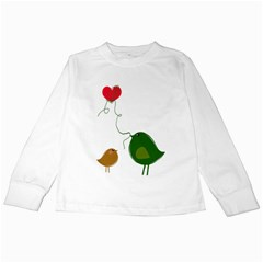 Love Birds White Long Sleeve Kids'' T Shirt by YinYang