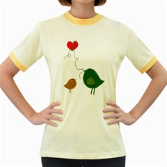 Love Birds Colored Ringer Womens  T Shirt by LoveBirds