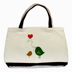 Love Birds Twin Sided Black Tote Bag by LoveBirds