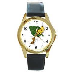 Animal World Black Leather Gold Rim Watch (round) by AnimalWorld