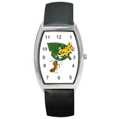 Animal World Black Leather Watch (tonneau) by AnimalWorld