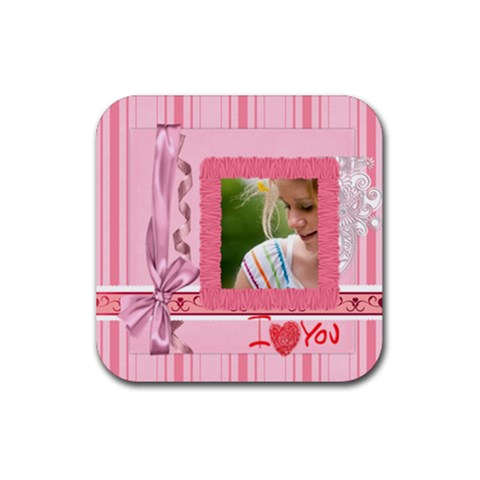 Mothers Day By Joely   Rubber Square Coaster (4 Pack)   9sv98yew5q0v   Www Artscow Com Front