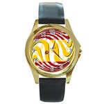 Spain Light Round Gold Metal Watch