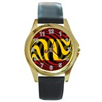 Spain Dark Round Gold Metal Watch