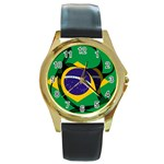 Brazil Round Gold Metal Watch