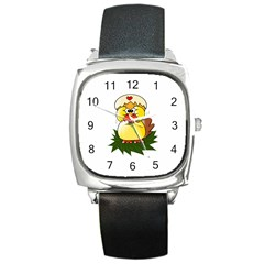 Coming Bird Black Leather Watch (square) by ComingBird