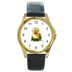Coming Bird Black Leather Gold Rim Watch (round) by ComingBird
