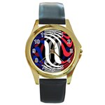 France Round Gold Metal Watch