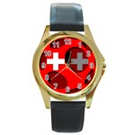 Switzerland Round Gold Metal Watch