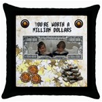 priceless cushion - Throw Pillow Case (Black)