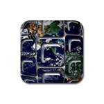 Earth Rubber Square Coaster (4 pack)