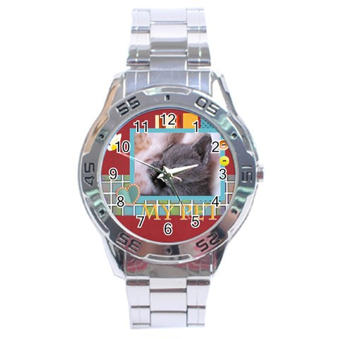 My Pets By Joely   Stainless Steel Analogue Watch   6dkhmx5rfeon   Www Artscow Com Front