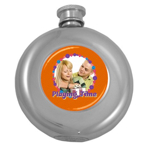 Playing Time By May   Hip Flask (5 Oz)   W0evegwqkl98   Www Artscow Com Front