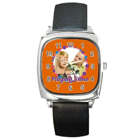 Playimg Time By May   Square Metal Watch   N4bv2u6s6mdu   Www Artscow Com Front