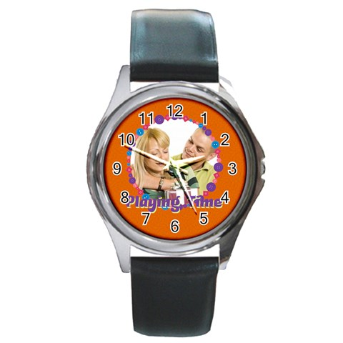 Playing Time By May   Round Metal Watch   A90zcwhrc561   Www Artscow Com Front
