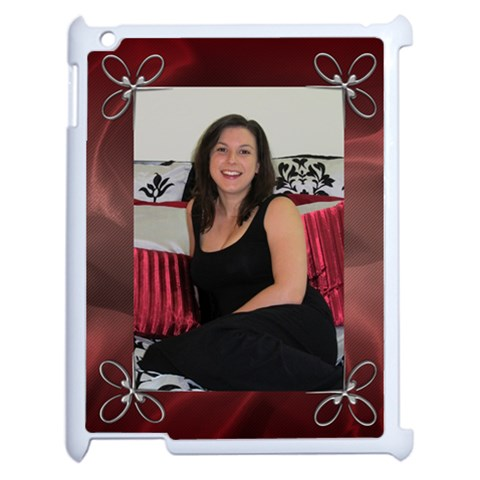 Silver And Red Apple Ipad Case By Deborah   Apple Ipad 2 Case (white)   3ow7e7occ1mv   Www Artscow Com Front