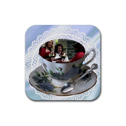Friends in a teacup coaster by Deborah Front