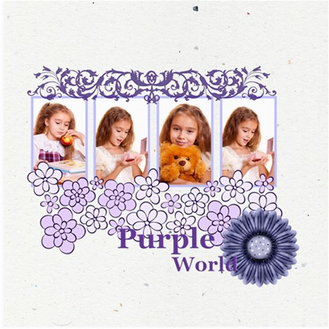 Purple Of World By Joely   Scrapbook Page 8  X 8    5lfxuzgw8tir   Www Artscow Com 8 x8 Scrapbook Page - 1