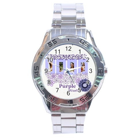 Purple By Joely   Stainless Steel Analogue Watch   If6q5jlprb8n   Www Artscow Com Front