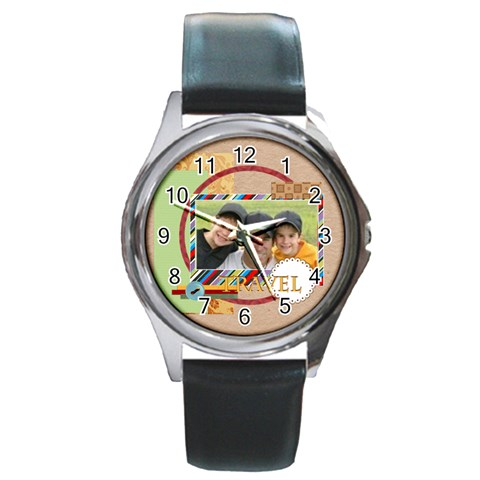 Travel By Joely   Round Metal Watch   Xjtxxcic6s8q   Www Artscow Com Front