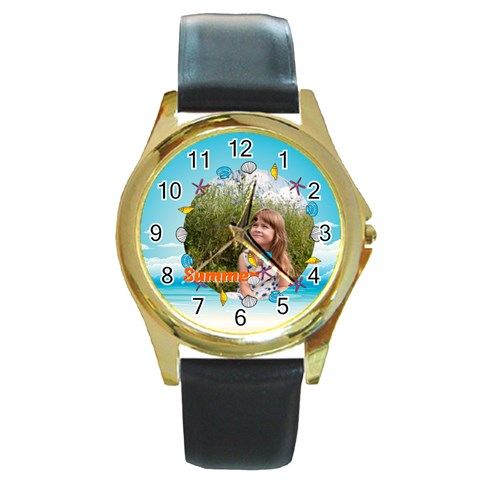 Summer By May   Round Gold Metal Watch   7nr4eq7um0ck   Www Artscow Com Front