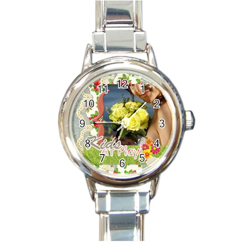 Kids Of Playing By Jacob   Round Italian Charm Watch   Eir8u4sxo8v3   Www Artscow Com Front