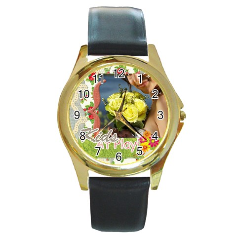 Kids By Jacob   Round Gold Metal Watch   Jl8qytfvzorh   Www Artscow Com Front