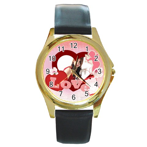 Love By Wood Johnson   Round Gold Metal Watch   Mt7gxgdk5lkd   Www Artscow Com Front