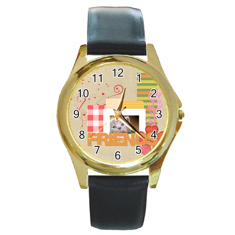 Friends By Joely   Round Gold Metal Watch   Eh6xbd3wtlb4   Www Artscow Com Front