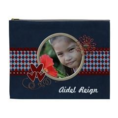 Xl   Cosmetic Bag   Red And Blue 2 By Jennyl   Cosmetic Bag (xl)   Iw5byhbpktds   Www Artscow Com Front