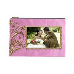 Pink And Gold Cosmetic Bag (large) By Deborah   Cosmetic Bag (large)   3ax1a8yx26it   Www Artscow Com Front