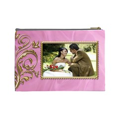 Pink And Gold Cosmetic Bag (large) By Deborah   Cosmetic Bag (large)   3ax1a8yx26it   Www Artscow Com Back