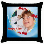 happylife - Throw Pillow Case (Black)