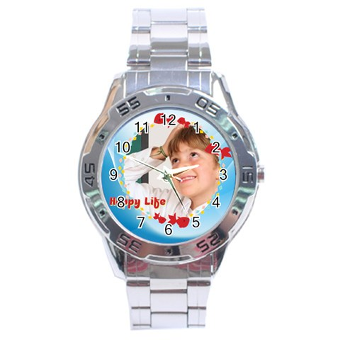 Happy Life By May   Stainless Steel Analogue Watch   5ximsvq3b0gy   Www Artscow Com Front
