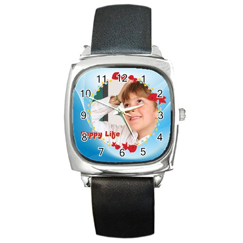 Happy Life By May   Square Metal Watch   P5nls9sk2q2u   Www Artscow Com Front