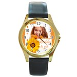 hb - Round Gold Metal Watch