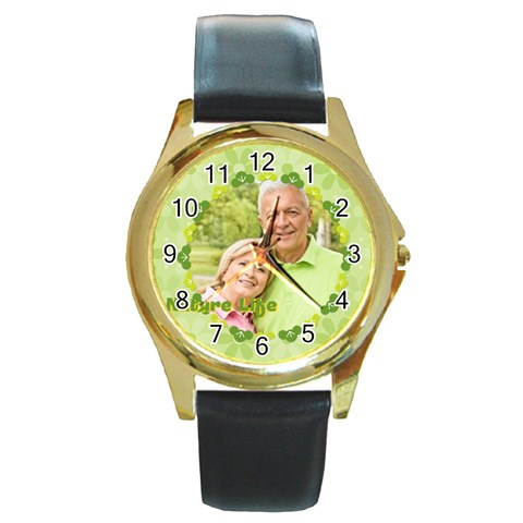 Nature Life By May   Round Gold Metal Watch   57ojbzbpknw7   Www Artscow Com Front